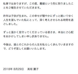 高垣麗子が森田昌典と離婚